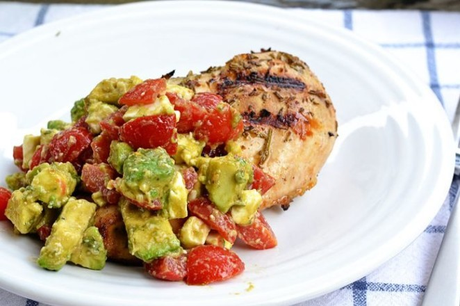 Grilled Rosemary Chicken with Tomato-Avocado Salsa