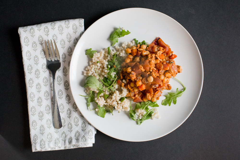 Moroccan Turkey and Chickpea Skillet