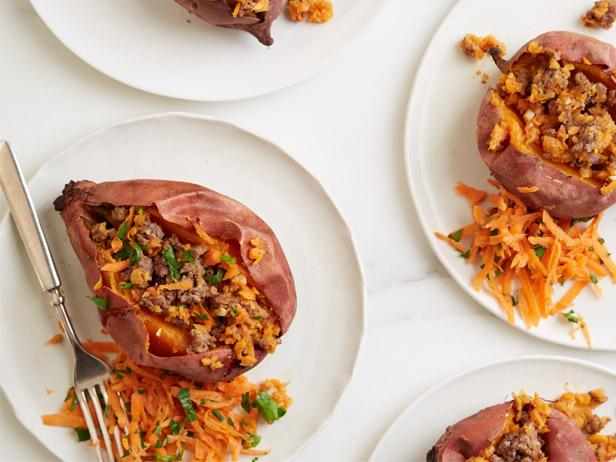 Beefy Stuffed Sweet Potatoes